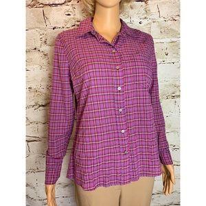 Gap Pink Plaid Fitted Boyfriend Shirt Button Down